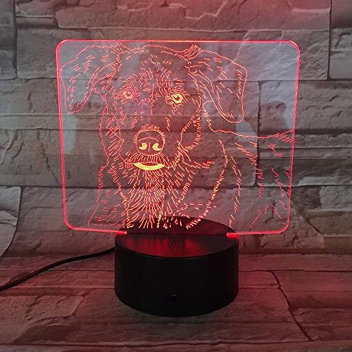 Mooie hond 3D nachtlampje LED illusie lamp met 7 kleuren wijzigen en afstandsbediening - verjaardag en kerstcadeau voor kinderen bedlampje slaapkamerdecoratie