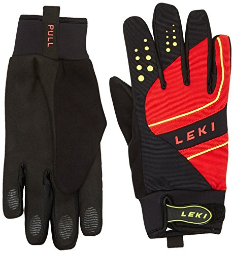 LEKI Handschuhe Thermoshield, Black-Red-Yellow, 7