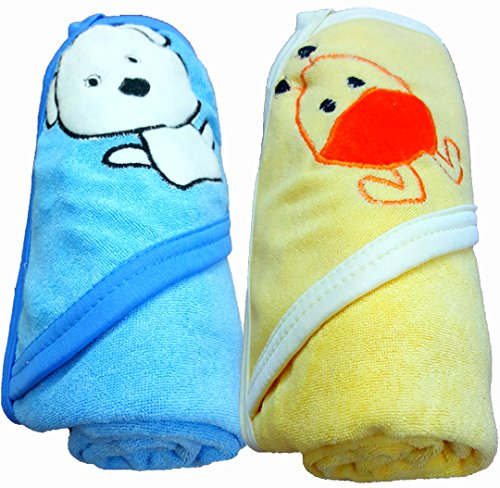 BRANDONN Fashions Quick Dry Extra Large Double Ply Hooded Shower Towels for Babies (Pack of 3 Pink, Mango,Blue 73.66 cm x 66.20 cm)
