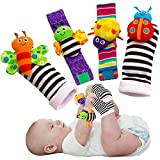 Blige SMTF Cute Animal Soft Baby Socks Toys Wrist Rattles and Foot Finders for Fun Butterflies and Lady bugs Set 4 pcs