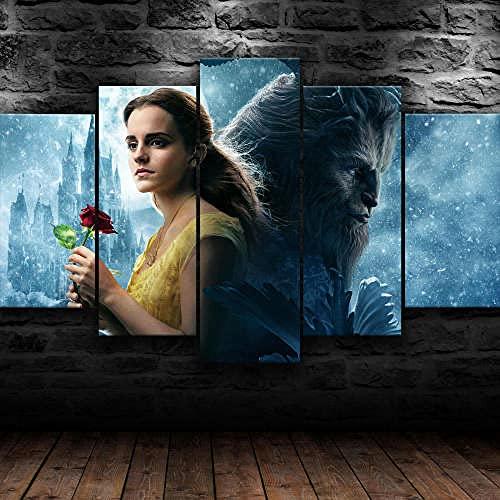 QQQAA Cuadros Modernos Impresión De Imagen Artística Digitalizada, 5 Piezas Lienzo Decorativo para Tu Salón O Dormitorio La Bella Y La Bestia Amor 5 Piezas