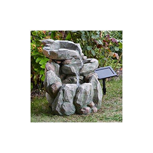 Unbekannt Solar-Felsbecken-Brunnen in Grau-Braun aus Polyresin, Maße 51 x 46 x 40 cm