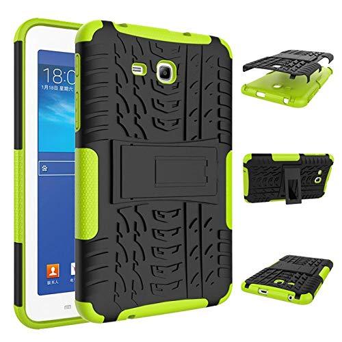 Hannuo para Samsung Tab 3 Lite T110 T111 T113 Funda de Armadura para Tableta TPU + PC Patchwork Soporte a Prueba de Golpes Cubierta Deslumbrante para Funda SM-T110-Verde