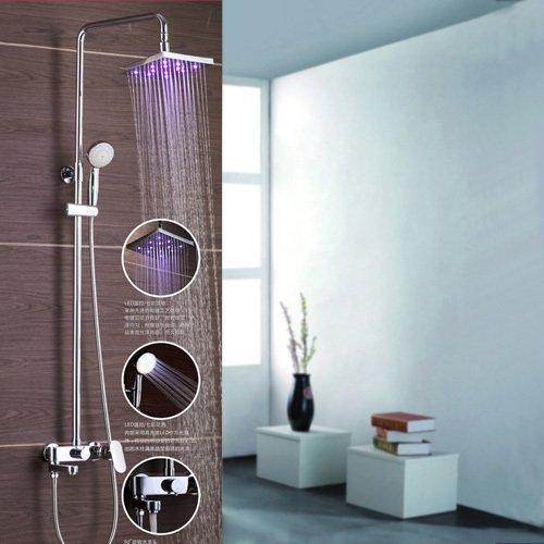 galvanoplástica Retro Grifo baño 3ducha grifo con LED. Cromado latón ducha. 8Pulgadas De Led ducha de lluvia Whirlpool batidora grifo HG 8001