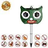 HINMAY Cat Repellent, Ultrasonic Pest Repeller Solar Battery Powered, 4-in-1 Intelligent Automatic Repeller,...