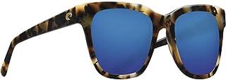 Costa CQA241OBMGLP Womens Shiny Vintage Tortoise Frame Blue Mirror Lens Square Sunglasses