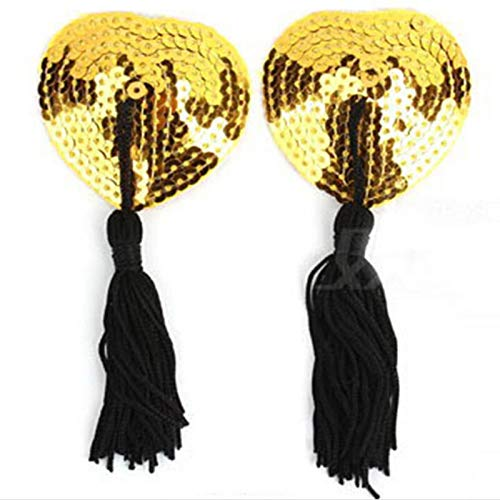No-Branded Zubehörteil 1 Paar Sexy Pasties Aufkleber Frauen-Wäsche Sequin Quaste Brust-Büstenhalter-Nippel-Abdeckung Produkt JFCUICAN (Color : Gold, Size : Kostenlos)