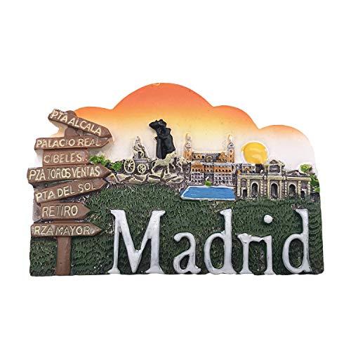 3D Madrid España Refrigerador Imán de Nevera Recuerdos Turísticos Hecho A Mano de Resina Artesanía Pegatinas Magnéticas Inicio Cocina Decoración Regalo de Viaje