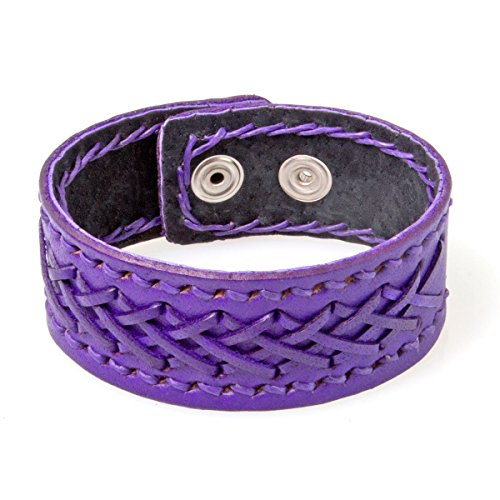 PAPAYANA T058-LA Leder-Armband Manschette mit Kreuznaht Echtleder Damen Herren Verstellbar Lila
