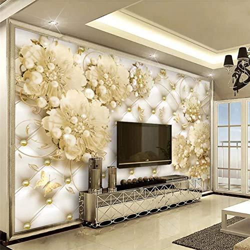 Kundenspezifische Tapete 3D Foto Wandbild Perle Soft Pack Schmuck Blume Hintergrund Wand Wohnzimmer Schlafzimmer Tapete 3D Wandbild 140x100cm