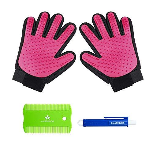 AMATHINGS 1 Paar = 2 Fellpflege-Handschuhe In Pink zur einfachen Entfernung Loser Tierhaare, Massage für Hund & Katze Plus Zeckenzange & Floh-kamm