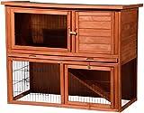 dobar 23384FSC Großer Kaninchenstall Inklusive Freilaufgehege, Hasenstall aus wetterfestem FSC Holz, 117 x 66 x 98 cm, braun