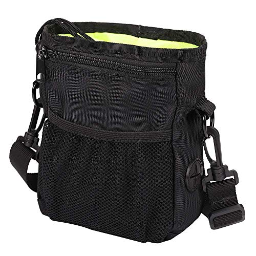 HANWELL Dog Treat Bag met Poop Bag Houder, Puppy Training Walking Pouch met ingebouwde Poo afvalzakken Dispenser - Verstelbare riem, Small, Zwart