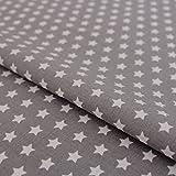 Hans-Textil-Shop Stoff Meterware Sterne 8 mm Weiß auf Grau
