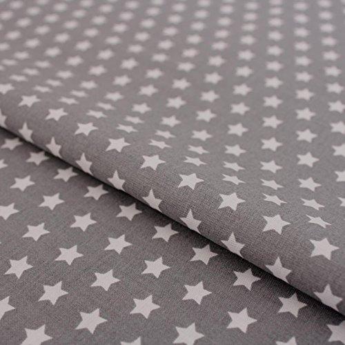 Hans-Textil-Shop Stoff Meterware Sterne 8 mm Weiß auf Grau - 1 Meter - Für Deko, Kinder, Weihnachten zum Basteln und Nähen