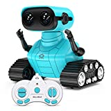 ALLCELE Robot Toys, Rechargeable RC Robots for Kids Boys, Remote Control Toy with Music and LED Eyes, Gift for Children Age 3 Years and Up - Blue