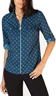 Michael Kors Printed Utility Shirt luxeTeal S