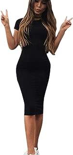 VEZAD Fashion Sexy Solid Women Short Sleeve Slim Dress