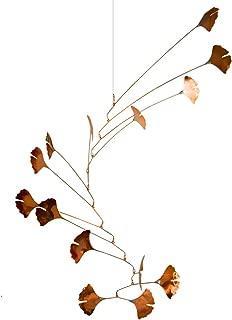 Modern Artisans Copper Ginkgo Leaves Spinning Mobile for Indoor or Outdoor, Large 14-Leaf Version