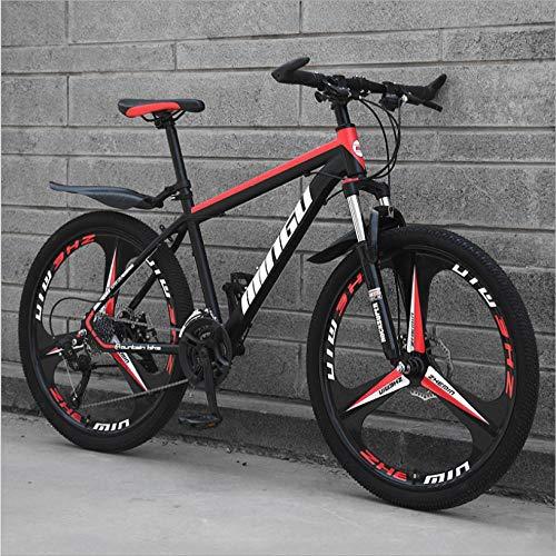 DGAGD 26 Zoll Mountainbike Variable Geschwindigkeit Offroad stoßdämpfendes Fahrrad leichte Straßenrennen Dreirad-Schwarz Rot_27 Geschwindigkeit
