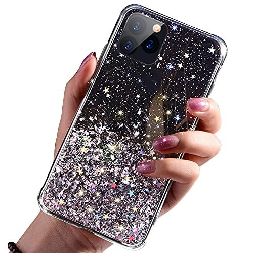 FOURTOC Bonita Funda Epoxi Brillante Compatible con iPhone 12 12 Pro 12 Pro MAX Gold Foil Sparkle Clear Glue TPU Funda Antirrayas A Prueba de Golpes,Negro,12 Pro MAX