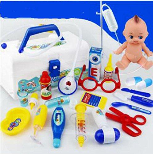 Stillshine 20 pièces Jeu d'imitation Docteur avec Accessoires boîte de Pharmacie pour Enfants (Bleu)