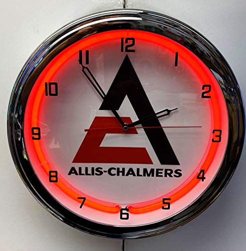ELG Companies LLC 16' Allis-Chalmers Tractor Nostalgic Sign Red Neon Wall Clock Garage Man Cave