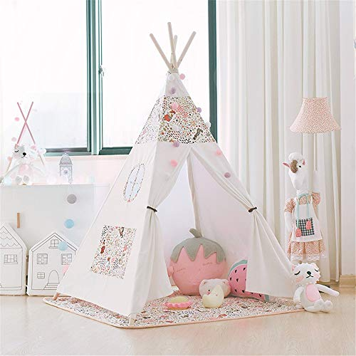 Kids Teepee Play Folding Cotton Canvas Tent Indian Theater Children's Photography Tent Camping Tent Indoor & Outdoor With Pad Indoor and Outdoor Children's Toys ( Color : White , Size : As shown )