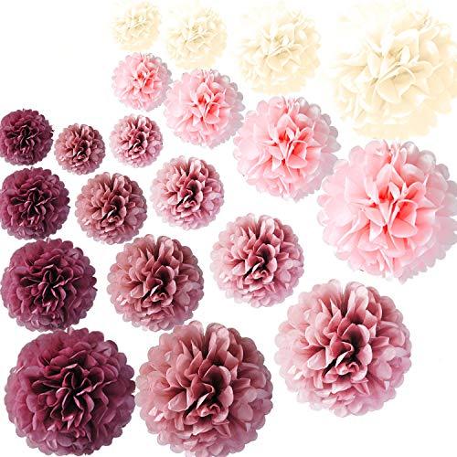 UMYMAYDO1 20X Rosegold Seidenpapier Pom Poms Papier Deko Blume DIY Party Deko Set für Geburtstag Bachelorette Hochzeit Baby Shower Bridal Shower Dekoration (Rosa)