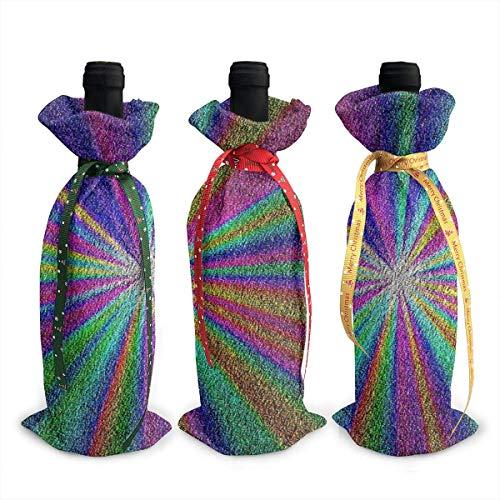 Weinflaschenabdeckung, Weihnachtsdekoration, Regenbogen-Glitzer, 3 Stück