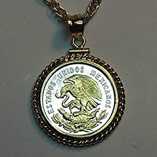 """Mexican """"Eagle"""", """"U.S. Quarter size"""" Gorgeously 2-Toned (Uniquely Hand done) Gold on Silver coin Necklaces for women men girls girlfriend boys teen girls"""