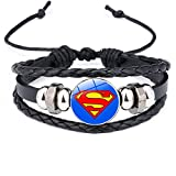 Pulsera Hombre Superhéroes Batman Spider-man Iron Man Superman Logo Pulsera De Cuero Niños Cristal C...