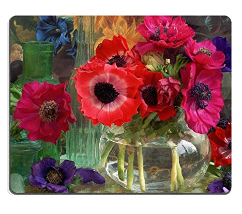 Mausemat Anemone Coronarias Flowers Vase Colorful Nature Decoration Glass Shiny Cute Premium Mousepad Mouse Mat Non-Slip With Stitched Edges Oblong Gaming Customized Mouse Pad 25X3