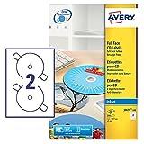 Avery Zweckform, J8676-100, CD-Etiketten, 100 Blatt, SuperSize-Spezialformat, bis 2880 dpi, schnell trocknend, spezielbeschichtet, ø 117 mm