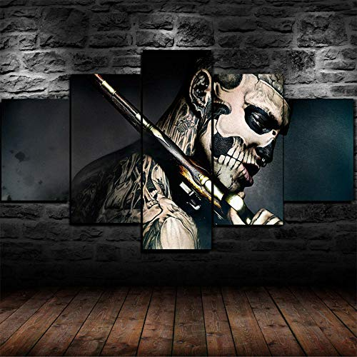 JJJKK Modulare5-teiliges Wandbild, 47 Ronin Movie Face Tattoo Festival Geschenk, auf Leinwand gedrucktes Kunstwerk, Moderne Dekoration fürs Zuhause, XXL mit Rahmen