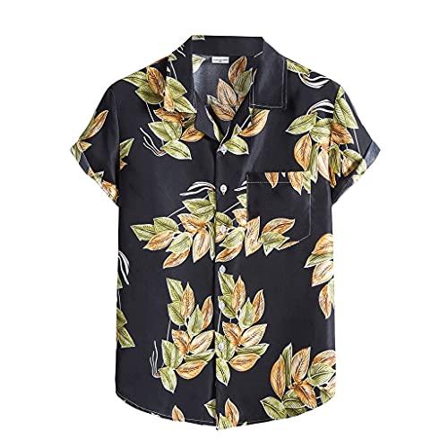 SPNEC Camisas étnicas para Hombres, Vacaciones de Verano, árbol de Coco, Estampado de Manga Corta con Botones, Camisas Hawaianas para Hombres (Color : Black, Size : L Code)