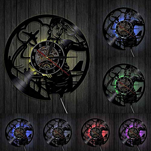 Aerolíneas azafata profesional reloj de pared vintage aerolínea piloto signo decoración para el hogar vuelo asistente señora vinilo record reloj de pared luces LED