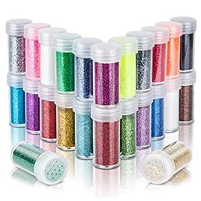 24 Colors Body Glitter for Rave Festival, LEOBRO 24 Jars Cruelty-Free Extra Fine Glitter, Makeup Glitter for Body Face Eye Nail Hair Slime