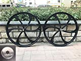 DONSP1986 26' Mag Wheel Set/ 26 Inch Magnesium Wheels/Black/Disc Brake and Caliper Brake - for Beach Cruisers, MTB's, and Gas Powered Bicycles