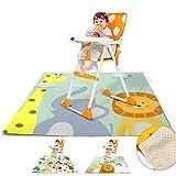 Splash Mat Highchair Baby Splat Floor Mat No Mess Anti Slip Feeding Protector (Giraffe, 130 x 130 cm)