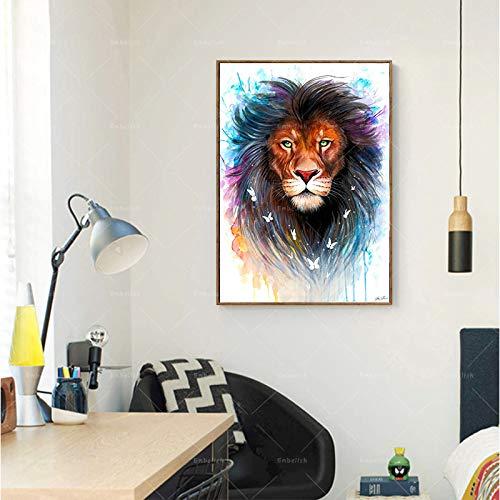 Cabeza de león Animal Acuarela_1000pcs_Wooden Puzzle_Rompecabezas de Madera niños Adultos Trompeta Juguete Educativo cumpleaños_50x75cm