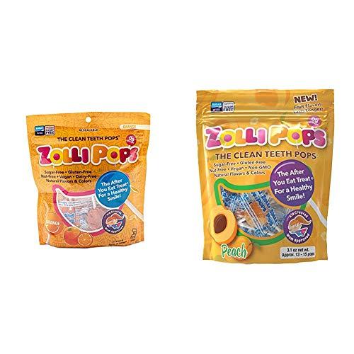 Zollipops Clean Teeth Lollipops Peach 31 Ounces and Clean Teeth Lollipops Orange 31 Ounces
