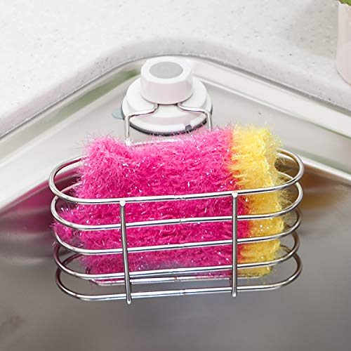 GLASTER Sponge Holder Scrubbers Rack, Sink Caddy for Kitchen, Strong Rustproof Stainless Steel, Adsorption Holder, Removable, Reusable, Adhesive NO, Drill Tool Free, Easy Install