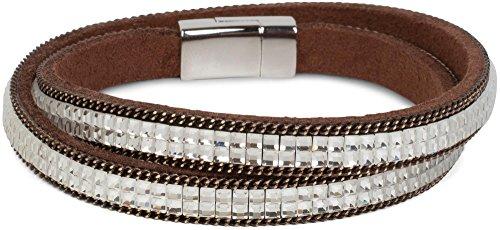 styleBREAKER Wickelarmband mit edlem Strass und Gliederkette, Magnetverschluss Armband, Glitzersteine, Damen 05040039, Farbe:Dunkelbraun