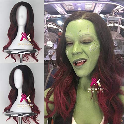 Neuer Film Guardians of the Galaxy 2 Gamora Cosplay Perücke Frauen Long Wavy Gradient Schwarz Rot Haar Cosplay Halloween Perücke + Free Perücke