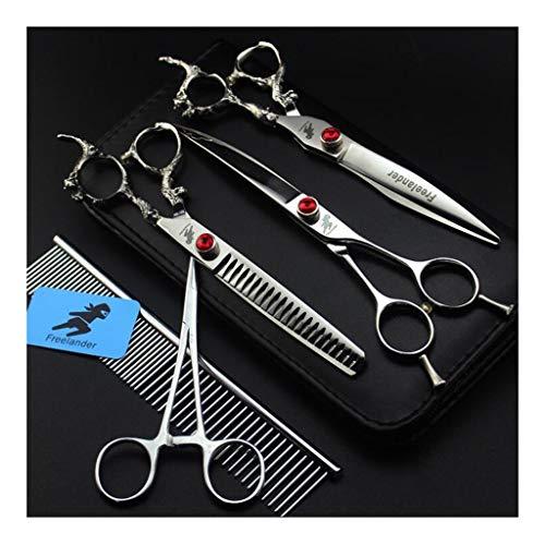 Pet Schere 7,0-Zoll-Dragon Griff Pet Grooming Scissors Set von 5 - Straight Cut Curved Suit Anzug Linie Kamm Fischgräte Schere