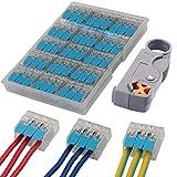 WPERSUVV 15 PCS Terminales Electricos Rapidos, Terminales Cables/Alambre Compacto Conector 222-413 + Pelacables para Cable