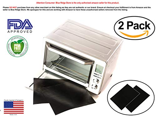 "TWO-PACK 100% Non-Stick 11"" Toaster Oven Liner. Finally, Prevent Spillovers, Gunk & Odors! Great Teflon Liner for Toaster Ovens, Dishwasher Safe, Best Toaster Oven Accessories"