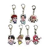 BTS Cute Cartoon Key Ring Kpop Acrylic Bangtan Boys Keychain Gift for Army Daughter (7pcs), Small