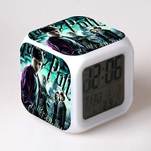 KFGJ Harry Potter Despertador para Niñas,Reloj Despertador Digital con 7 Colores Luz de Noche para Infantil,Hora Alarma Temperatura Fecha de Visualización A-1